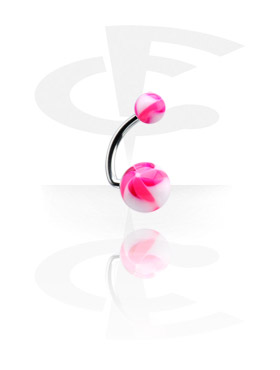 Curved Barbells, Navel Banana with Twister Flower Balls, Surgical Steel 316L, Acryl
