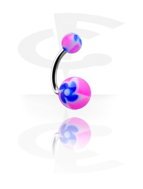"""Curved Barbell with """"New Twister"""" Flower Balls"""