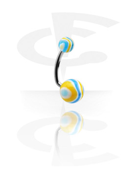 Curved Barbells, Navel Banana with Wave Candy Balls, Surgical Steel 316L, Acryl