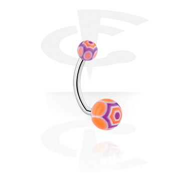 Curved Barbells, Navel Banana with Web Balls, Surgical Steel 316L, Acryl