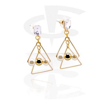 Earrings, Studs & Shields, Ear Studs, Gold Plated Brass