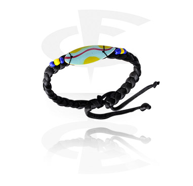 Náramky, Fashion Bracelet s Surf Design, Leather, Wood