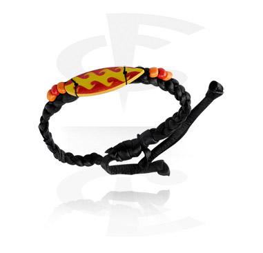 Bracelets, Bracelet tendance avec Motif surf, Cuir, Bois