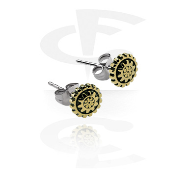 Earrings, Studs & Shields, Ear Studs, Plated Brass