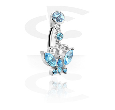 Zahnuté činky, Banana with Butterfly Charm<br/>[Surgical Steel 316L], Surgical Steel 316L