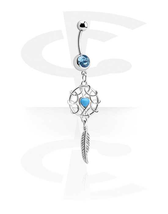 Curved Barbells, Banana with Dreamcatcher Charm, Surgical Steel 316L