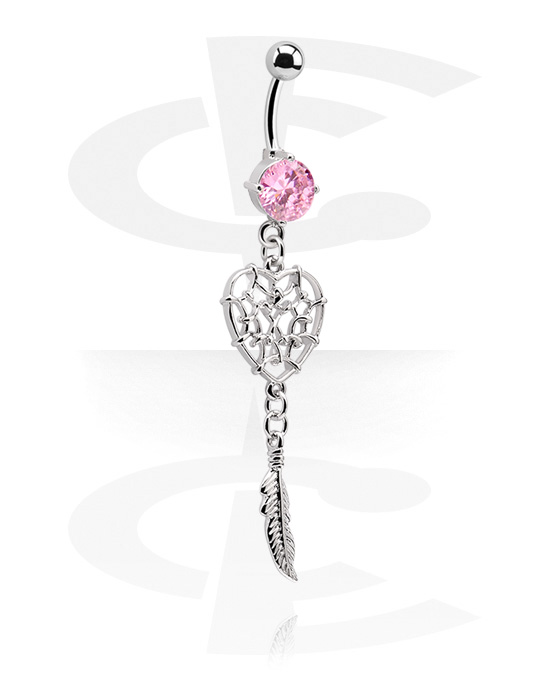 Banany, Banana with heart-shaped Charm, Surgical Steel 316L