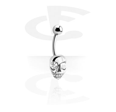 Trendy Curved Barbell with Skull