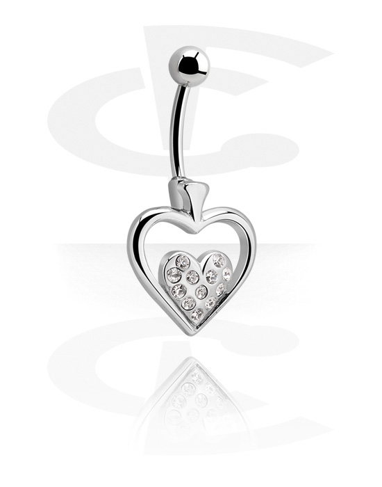 Banany, Banana with Heart Motive<br/>[Surgical Steel 316L], Surgical Steel 316L
