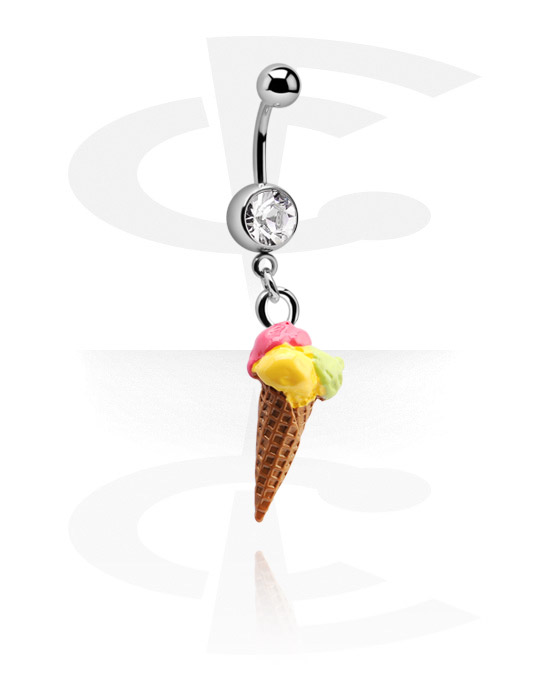 Banany, Jeweled Banana with Ice Cream Charm, Surgical Steel 316L