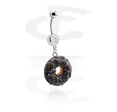 Banany, Jeweled Banana with Donut Charm, Surgical Steel 316L