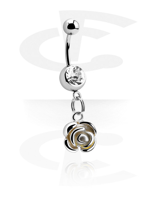 Curved Barbells, Banana with Rose Charm, Surgical Steel 316L