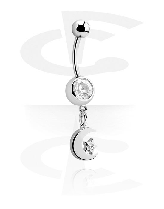 Banany, Banana with Moon Charm<br/>[Surgical Steel 316L], Surgical Steel 316L