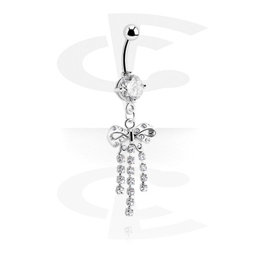 Curved Barbells, Round Jeweled Banana with Charm, Surgical Steel 316L
