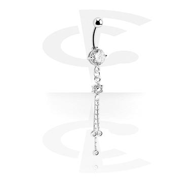Banany, Round Jeweled Banana with Charm, Surgical Steel 316L