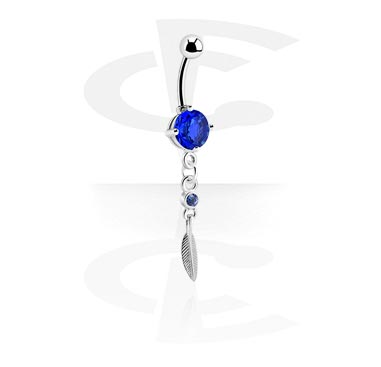 Jewelled Curved Barbell with Dangle