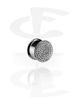 Tunele & plugi, Crystaline Box Plug, Surgical Steel 316L