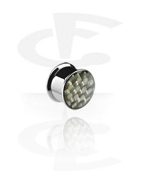 Tunnelit & plugit, Carbon Fiber Box Plug, Surgical Steel 316L