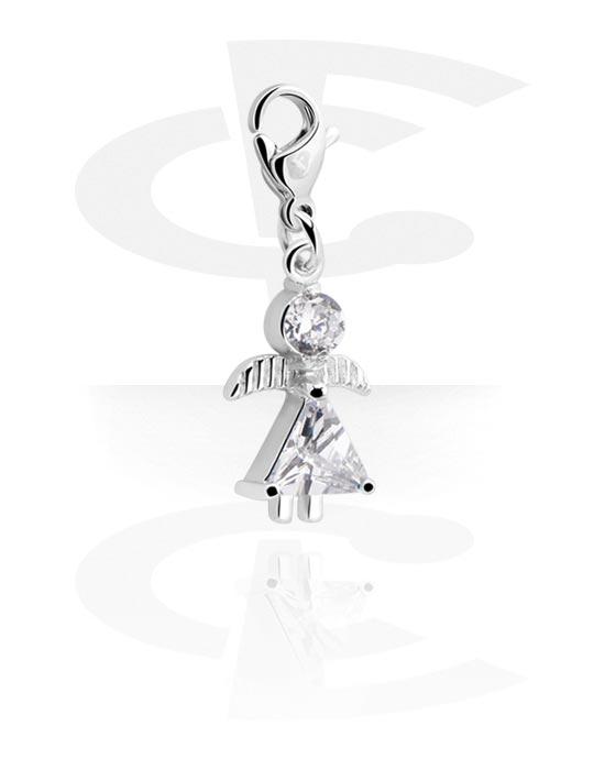 Bransolety z zawieszkami, Charm for Charm Bracelet z Angel Design, Stal chirurgiczna 316L, Powlekany mosiądz