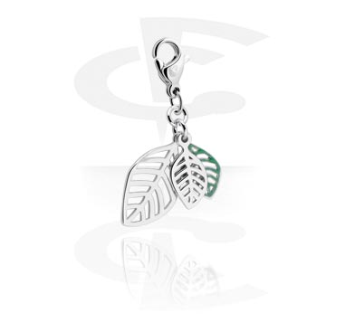 Charms, Charm with Leaf Design, Surgical Steel 316L, Plated Brass
