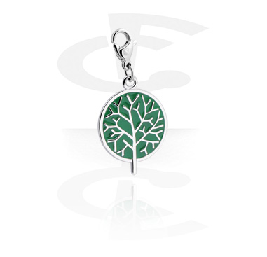 Charms, Charm with Tree Design, Surgical Steel 316L, Plated Brass