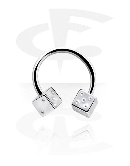 Kruhové činky, Circular barbell s dice attachment, Chirurgická ocel 316L