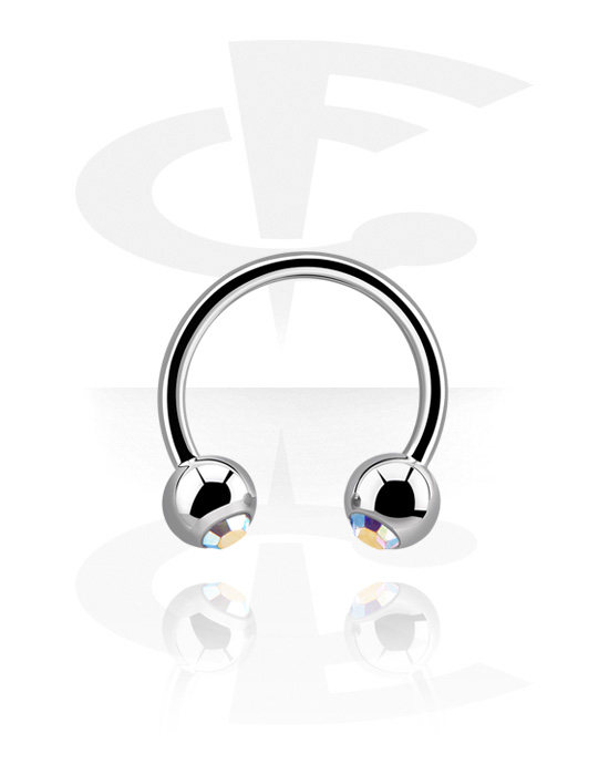 Circular Barbells, Circular Barbell with Balls and crystal stones, Surgical Steel 316L