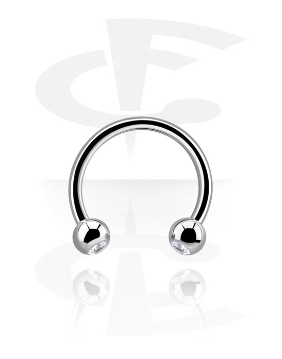 Circular Barbell, Circular barbell con palline e brillantino, Acciaio chirurgico 316L