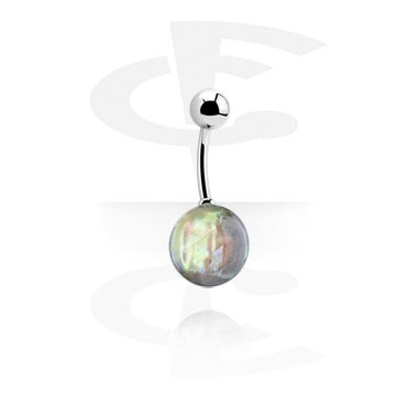 Curved Barbells, Mother of Pearl Cup Banana, Surgical Steel 316L
