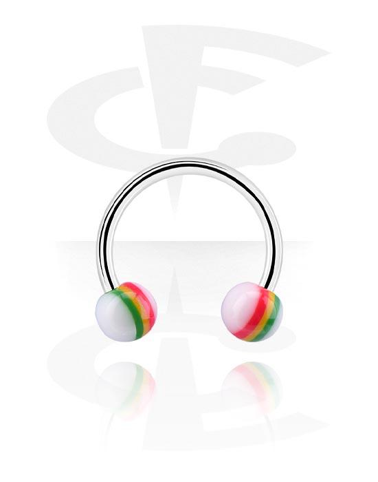 Circular Barbell, Circular barbell con palline, Acciaio chirurgico 316L, Acrilico