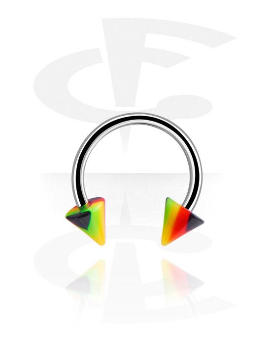 Circular Barbells, Circular Barbell with Cones, Surgical Steel 316L, Acrylic