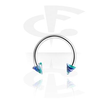 Circular Barbell, Circular barbell con coni, Acciaio chirurgico 316L, Acrilico