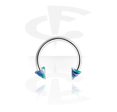 Circular Barbells, Circular barbell with cones, Surgical Steel 316L ,  Acrylic