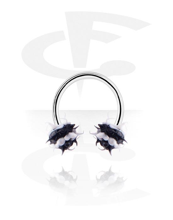 Circular Barbell, Circular barbell con Pallina spikey, Acciaio chirurgico 316L, Silicone