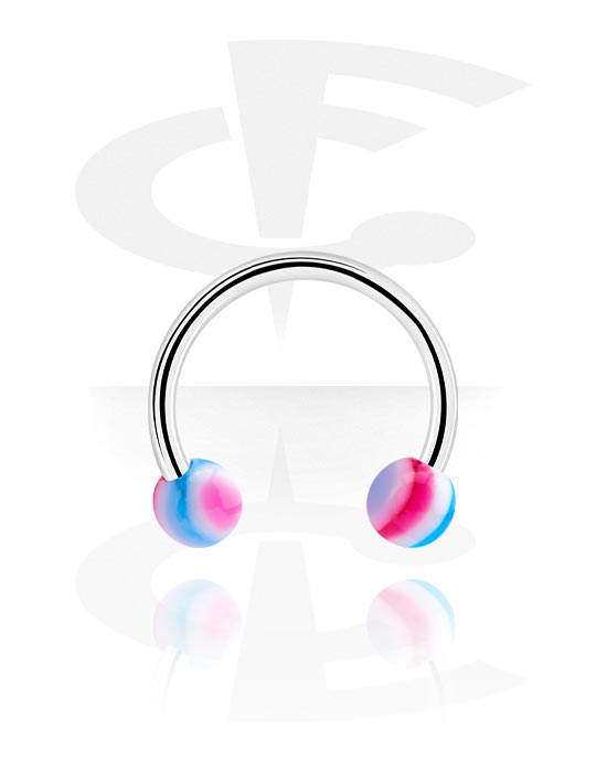 Circular Barbells, Circular Barbell with Balls, Surgical Steel 316L, Acrylic