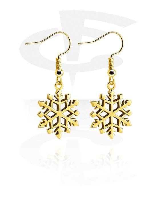 Korvakorut, Earrings kanssa Snowflake Design, Kultapinnoitteinen kirurginteräs 316L, Pinnoitettu messinki