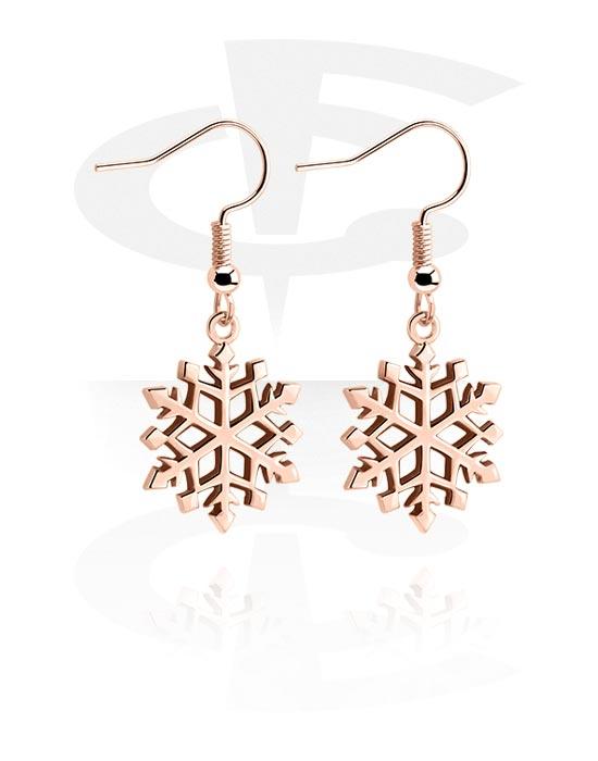 Korvakorut, Earrings kanssa Snowflake Design, Ruusukultapinnoitteinen kirurginteräs 316L, Pinnoitettu messinki