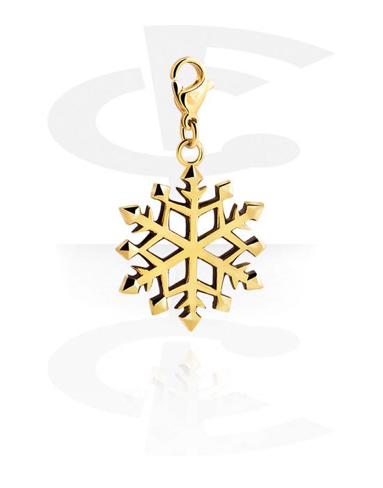 Riipukset Rannekoruihin, Charm for Charm Bracelet kanssa Snowflake Design, Kultapinnoitteinen kirurginteräs 316L