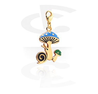 Charms, Charm with Snail Design, Gold Plated Surgical Steel 316L, Gold Plated Brass
