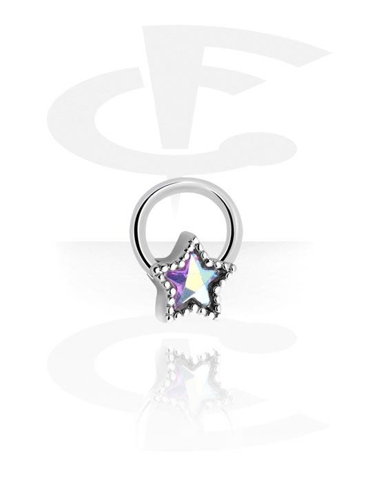 Renkaat, Ball closure ring kanssa star design ja crystal stone, Kirurginteräs 316L