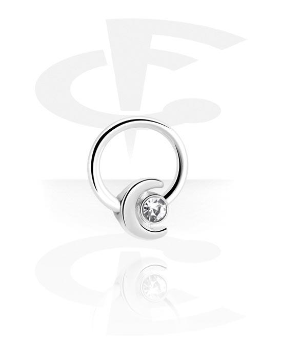 Renkaat, Ball closure ring kanssa moon attachment, Kirurginteräs 316L, Pinnoitettu messinki