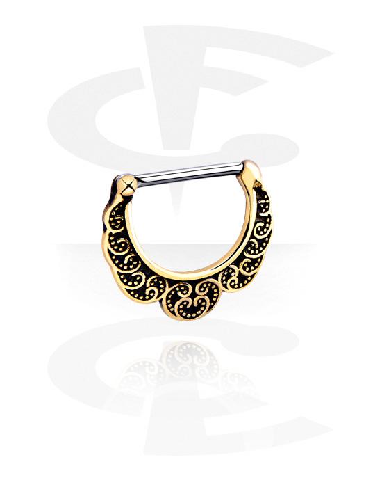 Biżuteria do piercingu sutków, Nipple Clicker, Stal chirurgiczna 316L, Mosiądz pozłacany