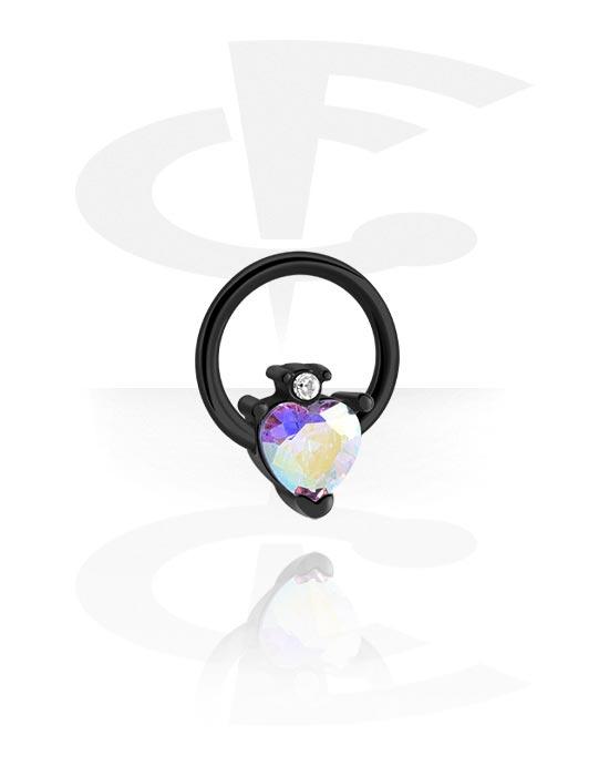Alke za piercing, Ball closure ring s heart attachment, Kirurški čelik 316L