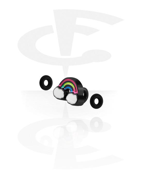 Palloja, nappeja ynnä muuta, Attachment for Industrial Barbell kanssa Rainbow Design, Pinnoitettu messinki