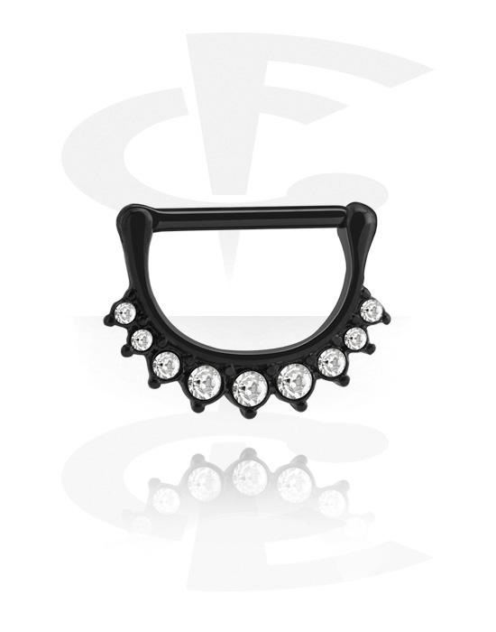 Piercingové šperky do bradavky, Nipple Clicker s crystal stones, Černá chirurgická ocel 316L