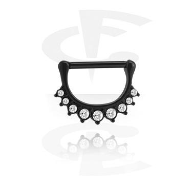 Pezón Piercings, Clicker para el pezón negro, Acero quirúrgico 316L