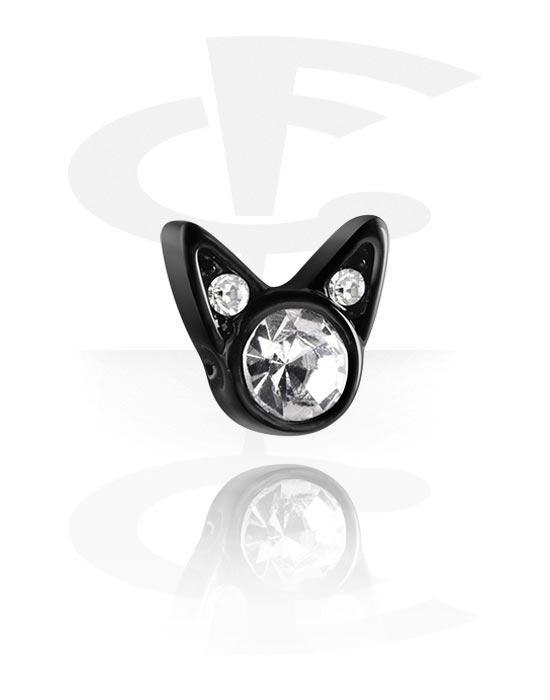 Palloja, nappeja ynnä muuta, Attachment for Ball Closure Rings kanssa cat design, Pinnoitettu messinki