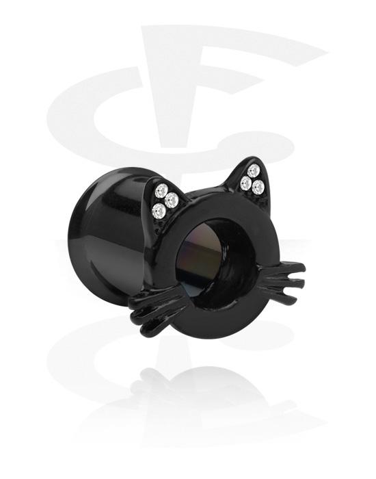 Tunnelit & plugit, Black Double Flared Tunnel kanssa cat design, Kirurginteräs 316L