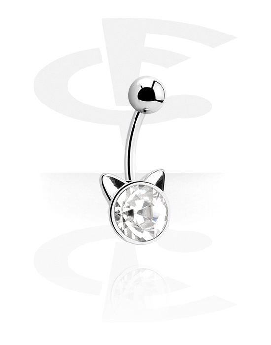 Curved Barbells, Fashion Banana with Cat Design, Surgical Steel 316L, Plated Brass