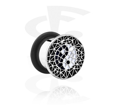 Tunnels & Plugs, Single Flared Plug with Yin-Yang Design, Surgical Steel 316L